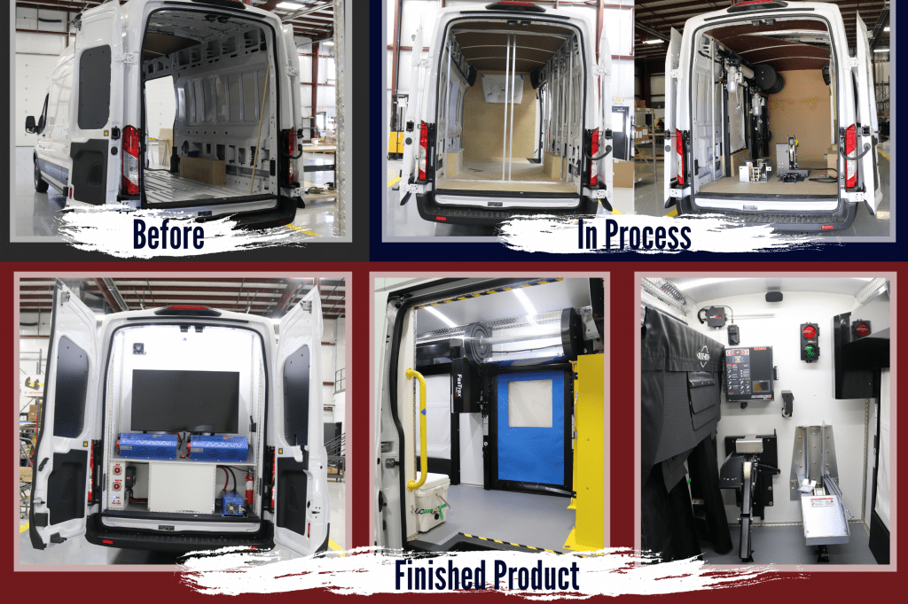 Before, In Process and Finished Product of a Commercial Van Upfit